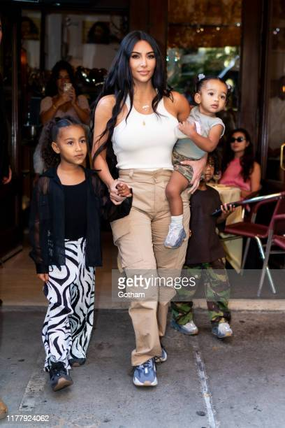 Kim Kardashian is seen with her children North, Saint and Chicago in SoHo on September 29, 2019 in New York City.