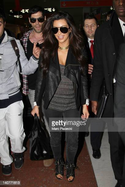 Kim Kardashian is sighted at Charles de Gaulle Airport on March 6 2012 in Paris France