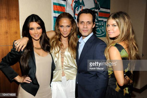 Kim Kardashian Jennifer Lopez Marc Anthony and Fergie attend the Miami Dolphins vs New York Jets hispanic heritage home season opener at Sun Life...