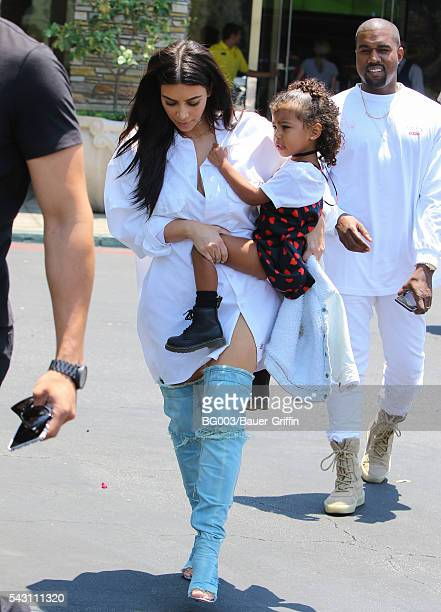 Kim Kardashian Kanye West and daughter North West are seen on June 25 2016 in Los Angeles California