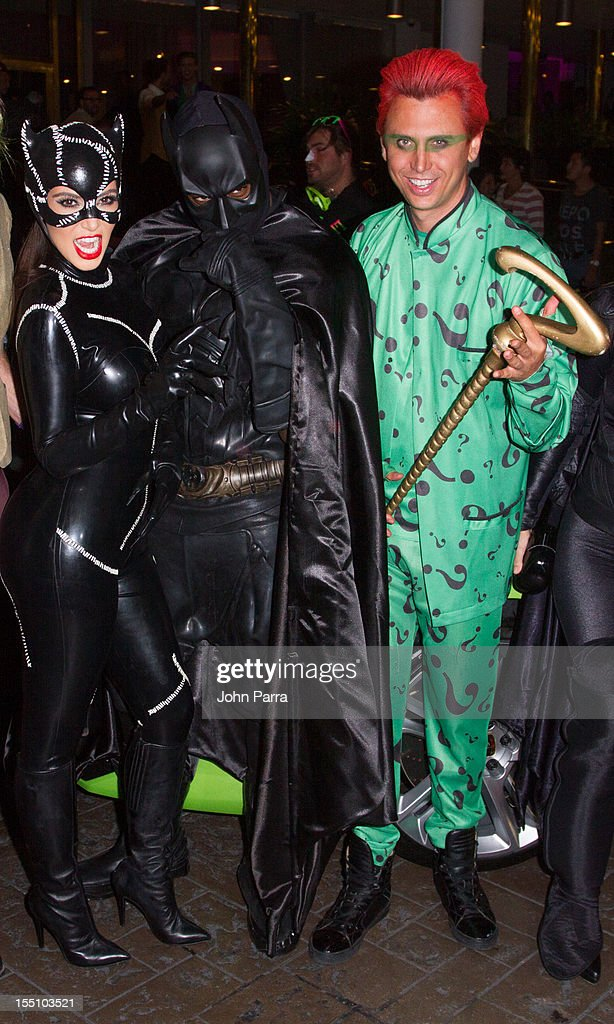 Kim Kardashian, Kanye West and Jonathan Cheban arrives at Kim Kardashian's Halloween party at LIV nightclub at Fontainebleau Miami on October 31, 2012 in Miami Beach, Florida.