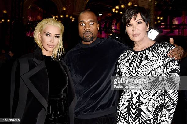 Kim Kardashian, Kanye West and Kris Jenner attend the Balmain show as part of the Paris Fashion Week Womenswear Fall/Winter 2015/2016 on March 5,...