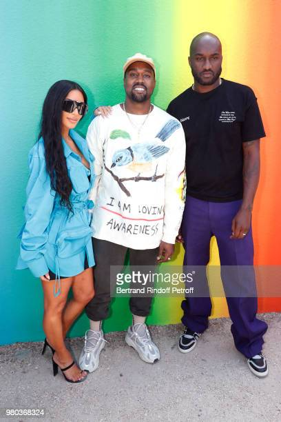 Kim Kardashian, Kanye West and Stylist Virgil Abloh pose after the Louis Vuitton Menswear Spring/Summer 2019 show as part of Paris Fashion Week on...