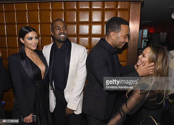 Kim Kardashian Kanye West John Legend and Chrissy Teigen attend John Legend Celebrates His Birthday And The 10th Anniversary Of His Debut Album 'Get...