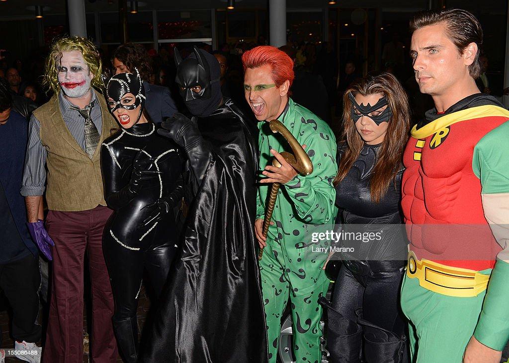 Kim Kardashian, Kanye West, Jonathan Cheban, Kourtney Kardashian and Scott Disick arrive at Kim Kardashian's Halloween party at LIV nightclub at Fontainebleau Miami on October 31, 2012 in Miami Beach, Florida.