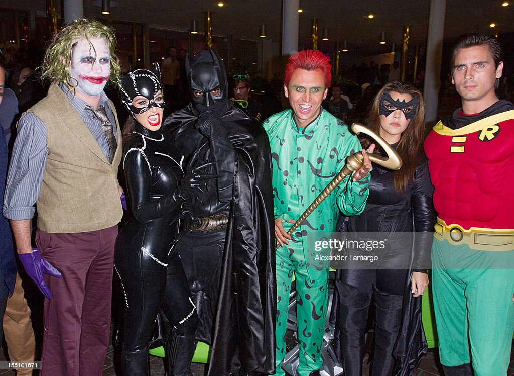 Kim Kardashian, Kanye West, Jonathan Cheban, Kourtney Kardashian and Scott Disick arrive at Kim Kardashian's Halloween party at LIV nightclub at Fontainebleau Miami on October 31, 2012 in Miami Beach, Florida.