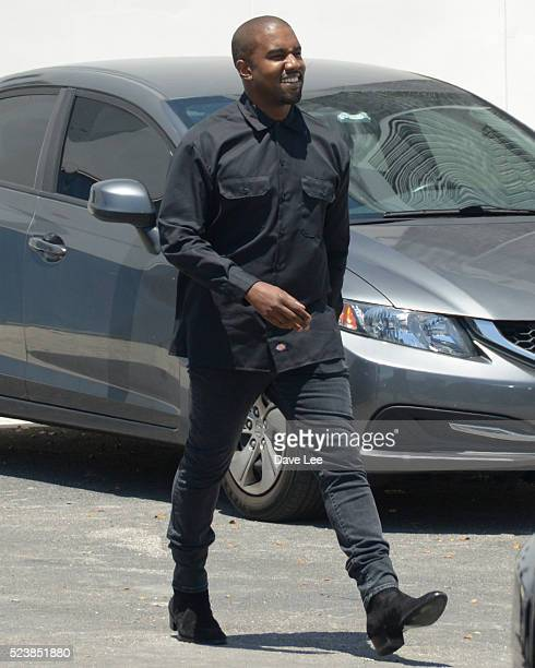 Kim Kardashian Kanye West Kourtney Kardashian is sighted on April 24 2016 in Miami Beach Florida