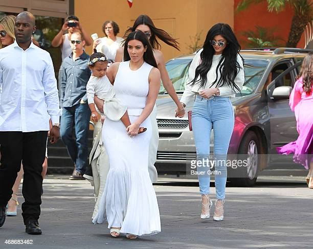Kim Kardashian, Kanye West, Kris Jenner, Kendall Jenner, Kylie Jenner, Kourtney Kardashian, Khloe Kardashian, Tyga and Corey Gamble are seen at...