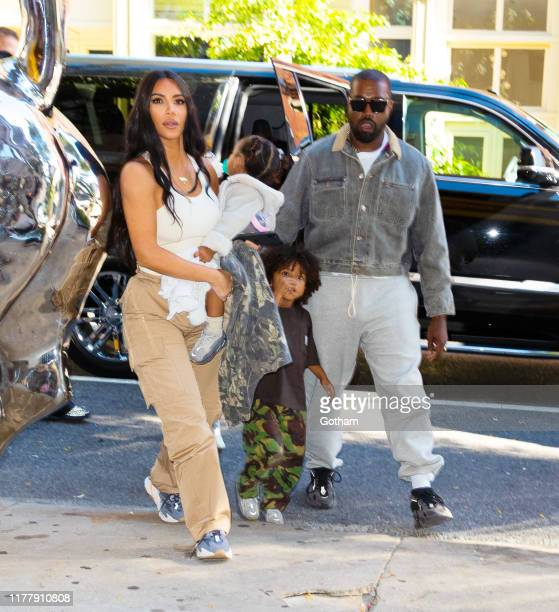 Kim Kardashian, Kanye West take their kids North West, Saint West, Chicago West, Psalm West on September 29, 2019 in New York City.