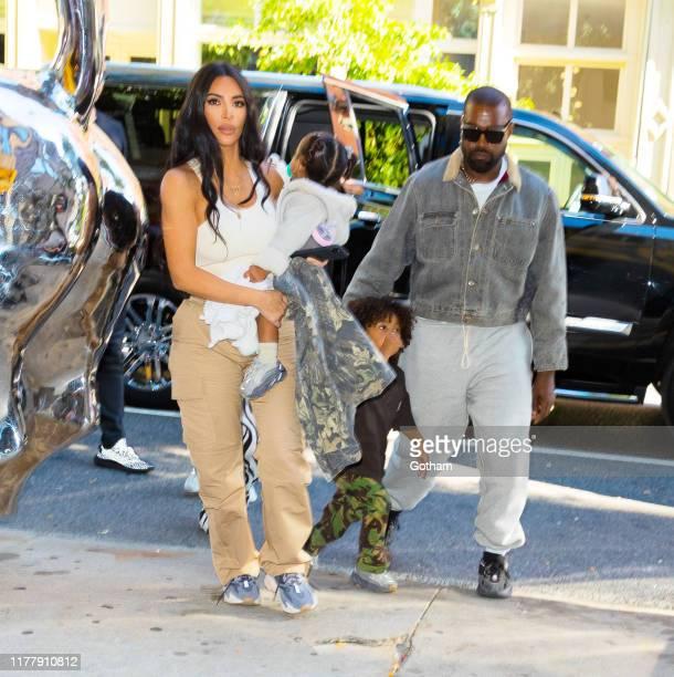 Kim Kardashian, Kanye West take their kids North West, Saint West, Chicago West, Psalm West on September 29, 2019 in New York City.
