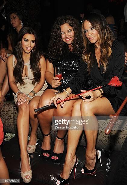 Kim Kardashian Kayla Humphries and Robin Antin celebrate Kim Kardashian's bachelorette party at TAO Nightclub at the Venetian on July 23 2011 in Las...