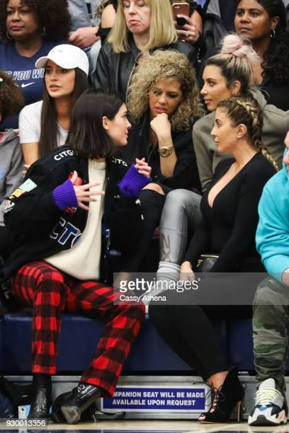 Kim Kardashian Kendall Jenner and Larsa Younan chat courtside as Sierra Canyon plays Foothills Christian for the CIF Open Division Playoffs at Sierra...