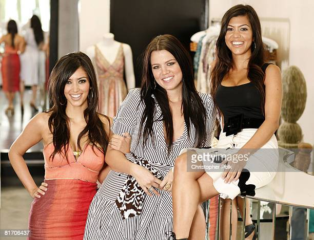 Kim Kardashian Khloe Kardashian and Kourtney Kardashian at their store Dash
