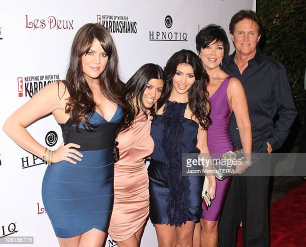 "Kim Kardashian, Khloe Kardashian, Kourtney Kardashian, Kris Jenner, and Bruce Jenner arrive to the Season 2 Launch premiere party of ""Keeping up with..."