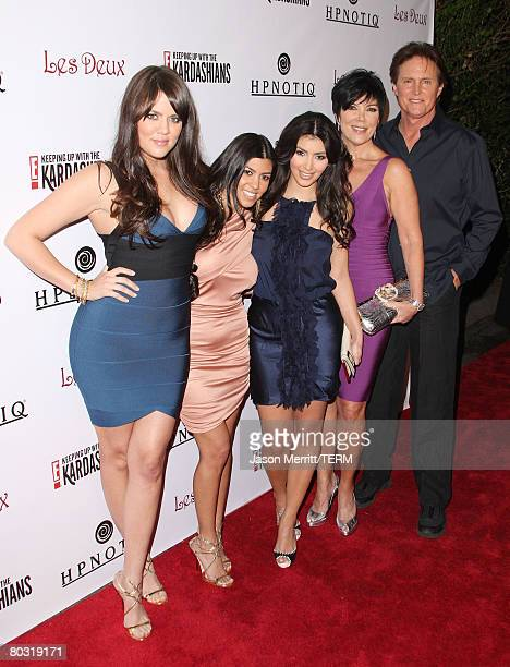 Kim Kardashian Khloe Kardashian Kourtney Kardashian Kris Jenner and Bruce Jenner arrive to the Season 2 Launch premiere party of Keeping up with the...