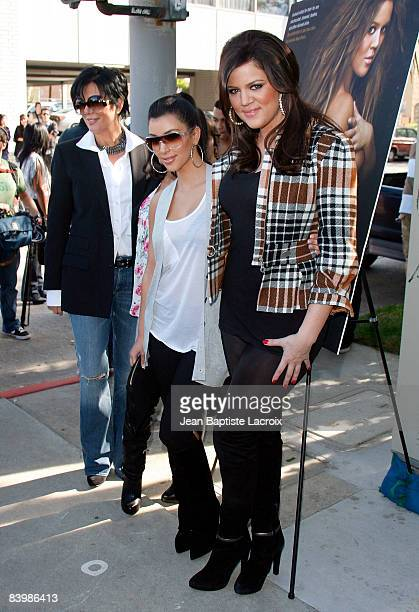 Kim Kardashian Kloe Kardashian and Kris Jenner Kardashian attend the unveiling of Khloe Kardashian's PETA 'Fur I'd Rather Go Naked' Billboard on...