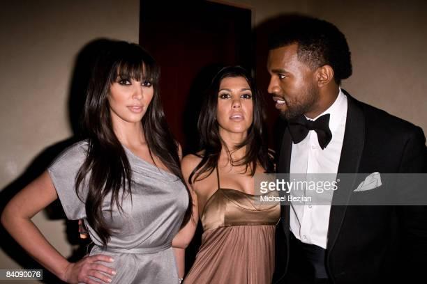 Kim Kardashian Kourtney Kardashian and Kanye West at Flaunt Magazine's 10th Anniversary Party and Annual Holiday Toy Drive at the Wayne Kao Mansion...