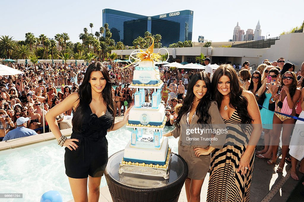 Kim Kardashian, Kourtney Kardashian and Khloe Kardashian celebrate Kourtney's birthday at Wet Republic on April 24, 2010 in Las Vegas, Nevada.
