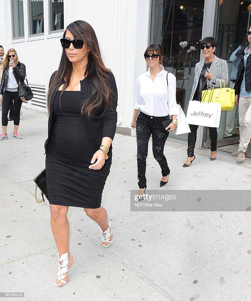 Kim Kardashian, Kourtney Kardashian and Kris Jenner as seen on April 22, 2013 in New York City.