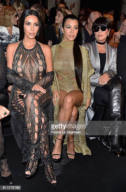 Kim Kardashian Kourtney Kardashian and Kris Jenner attend the Balmain show as part of the Paris Fashion Week Womenswear Spring/Summer 2017 on...