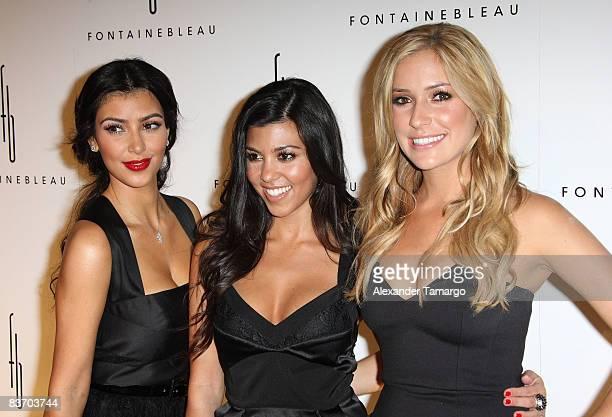 Kim Kardashian, Kourtney Kardashian and Kristin Cavallari arrives for the grand opening of Fontainebleau Miami Beach on November 14, 2008 in Miami...