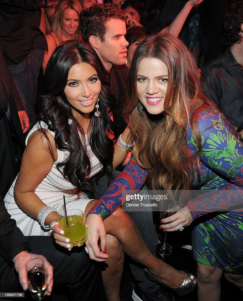 Kim Kardashian, Kris Humphries and Khloe Kardashian celebrate Kim Kardashian's birthday at Marquee Nightclun at the Cosmopolitan on October 22, 2011 in Las Vegas, Nevada.