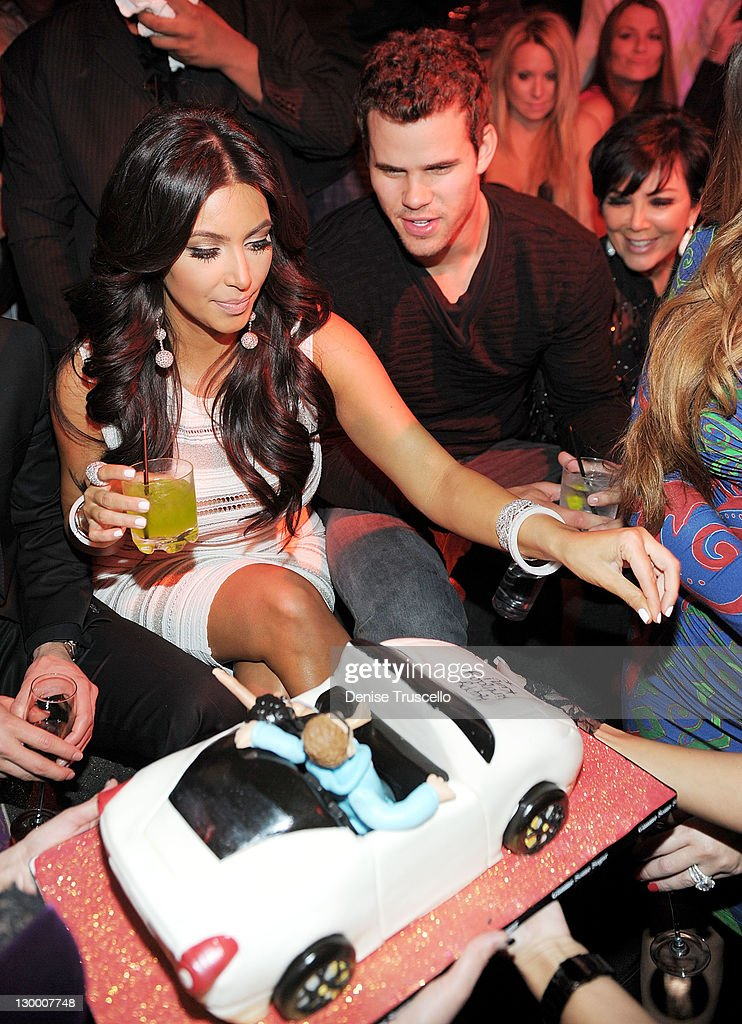 Kim Kardashian, Kris Humphries and Kris Jenner celebrate Kim Kardashian's birthday at Marquee Nightclun at the Cosmopolitan on October 22, 2011 in Las Vegas, Nevada.