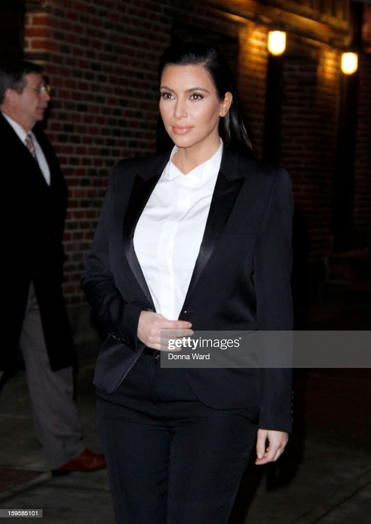 Kim Kardashian leaves 'The Late Show with David Letterman' at Ed Sullivan Theater on January 16, 2013 in New York City.