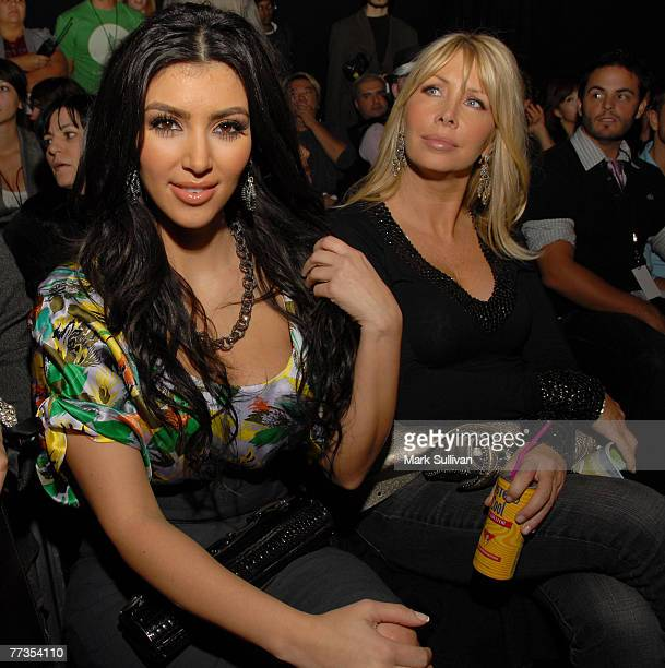 Kim Kardashian left at Heatherette fashion show at the Mercedes Benz Fashion Week at Smashbox Studios on October 15 2007 in Culver City