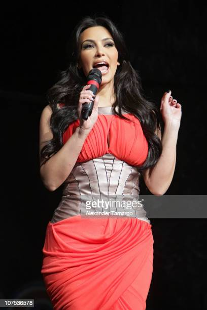 Kim Kardashian makes an appearance during the Y100 Jingle Ball at BankAtlantic Center on December 11 2010 in Sunrise Florida