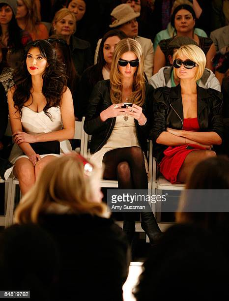 Kim Kardashian Nicky Hilton and Paris Hilton attend the Tracy Reese Fall 2009 fashion show during MercedesBenz Fashion Week in the Salon at Bryant...