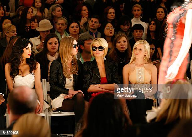 Kim Kardashian Nicky Hilton Paris Hilton and Kellie Pickler attend the Tracy Reese Fall 2009 fashion show during MercedesBenz Fashion Week in the...