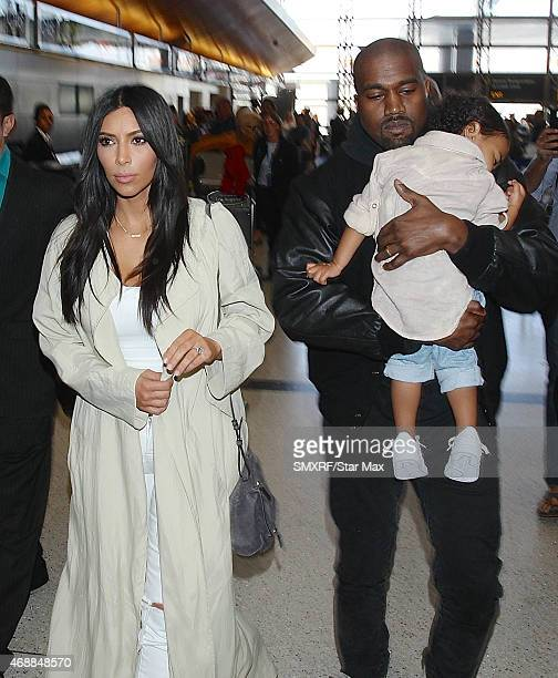 Kim Kardashian North West and Kanye West are seen on April 7 2015 in Los Angeles California