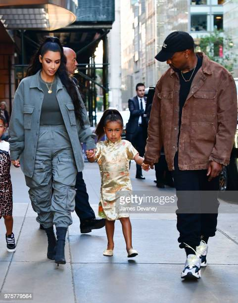 Kim Kardashian North West and Kanye West arrive to The Polo Bar on June 15 2018 in New York City