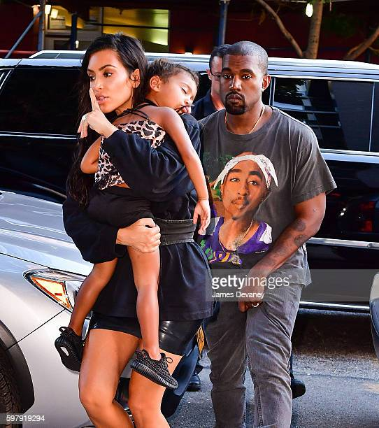 Kim Kardashian North West and Kanye West seen on the streets of Manahttan on August 29 2016 in New York City