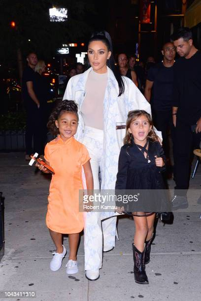 Kim Kardashian North West and Penelope Disick seen leaving a restaurant in SoHo on September 29 2018 in New York City