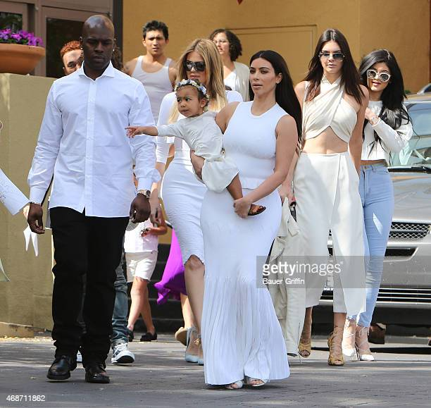 Kim Kardashian North West Kendall Jenner Kylie Jenner Cory Gamble and Khloe Kardashian are seen at church on Easter in Los Angeles on April 05 2015...