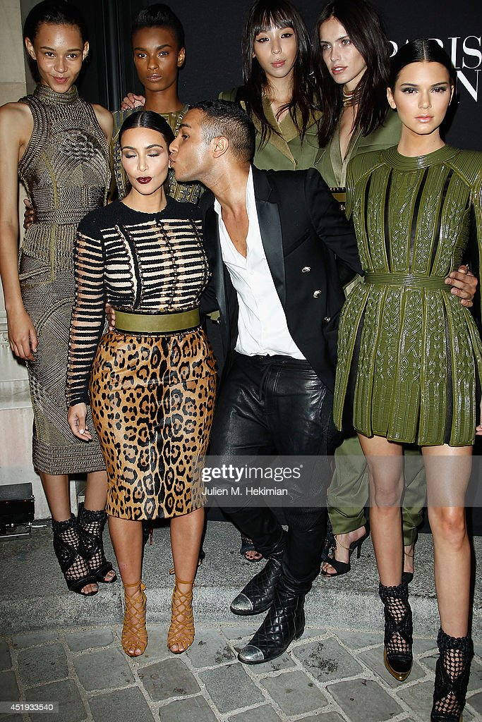 Kim Kardashian, Olivier Rousteing and Kendall Jenner attend the Vogue Foundation Gala as part of Paris Fashion Week at Palais Galliera on July 9, 2014 in Paris, France.