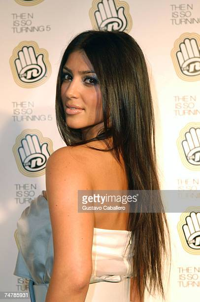 Kim Kardashian poses at the Celebration of The Ns 5th Anniversary at Marquee June 18 2007 in New York City