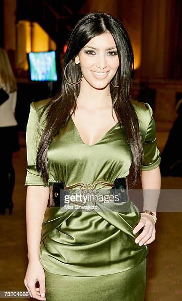 Kim Kardashian poses backstage at the Nicole Romano Fall 2007 fashion show at Capitale during MercedesBenz Fashion Week February 4 2007 in New York...