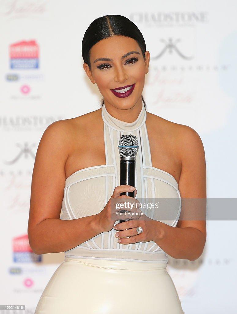 Kim Kardashian promotes her new fragrance 'Fleur Fatale' at Chadstone Shopping Centre on November 19, 2014 in Melbourne, Australia.