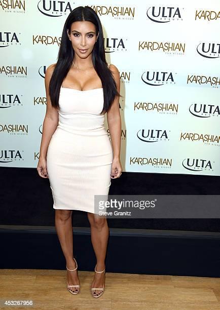 Kim Kardashian Promotes Kardashian Sun Kissed At ULTA Beauty In Los Angeles at ULTA Beauty on August 6 2014 in Los Angeles California