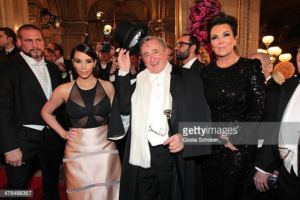 Kim Kardashian Richard Lugner and mother of Kim Kris Jenner attend the traditional Vienna Opera Ball at Vienna State Opera on February 27 2014 in...