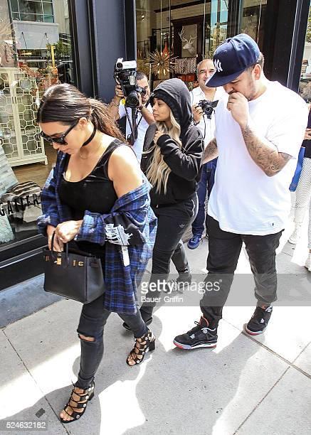 Kim Kardashian Rob Kardashian and Blac Chyna are seen on April 26 2016 in Los Angeles California
