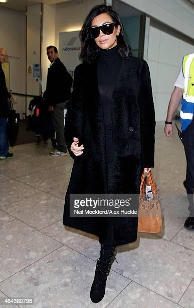 Kim Kardashian seen arriving at Heathrow Airport on February 25 2015 in London England