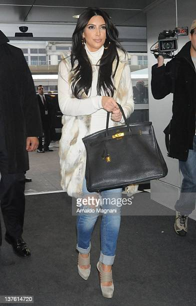 Kim Kardashian sighted arriving at JFK airport on January 23 2012 in New York City
