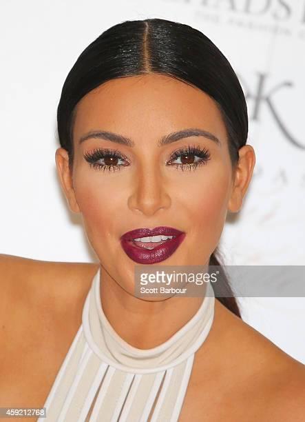 Kim Kardashian smiles as she promotes her new fragrance Fleur Fatale at Chadstone Shopping Centre on November 19 2014 in Melbourne Australia