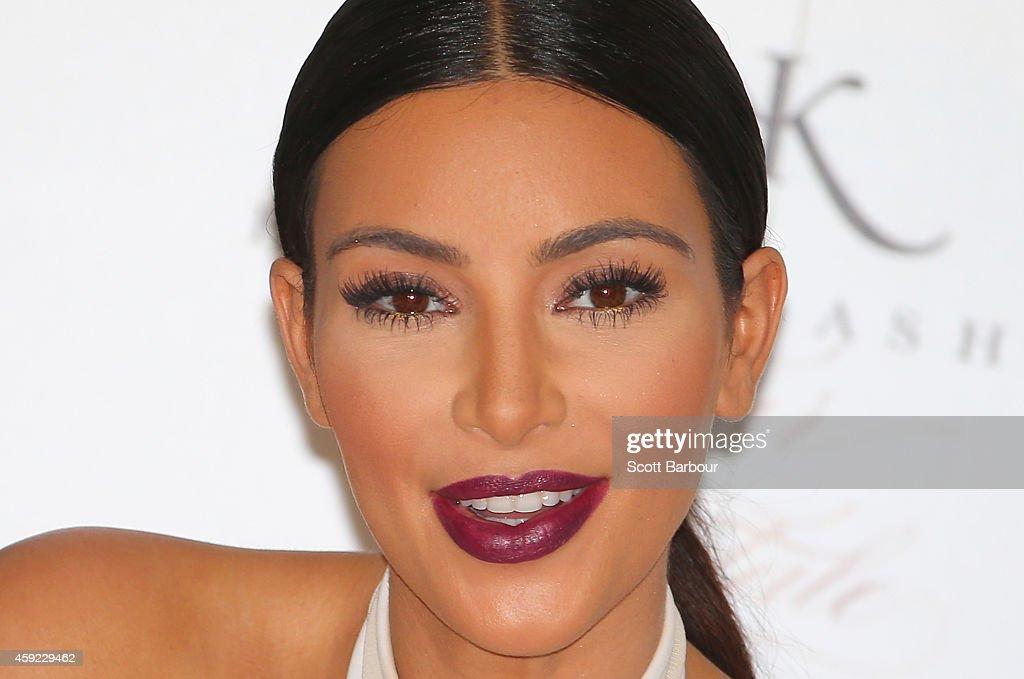 Kim Kardashian smiles as she promotes her new fragrance 'Fleur Fatale' at Chadstone Shopping Centre on November 19, 2014 in Melbourne, Australia.