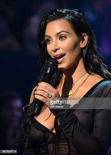 Kim Kardashian speaks onstage during the 2016 MTV Video Music Awards at Madison Square Garden on August 28 2016 in New York City
