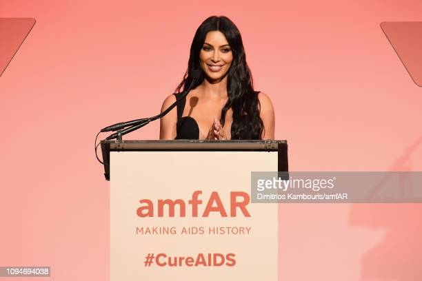 Kim Kardashian speaks onstage during the amfAR New York Gala 2019 at Cipriani Wall Street on February 6 2019 in New York City